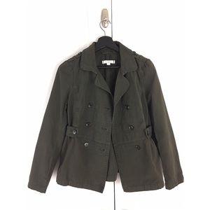 LOFT Army Green Cotton Peacoat Utility Jacket SP